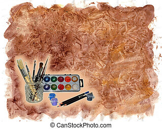 Art Template - Textured template with paint brushes in glass...