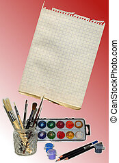 Art Template - Beautiful template with paint brushes in...