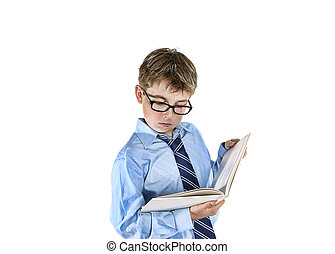Boy reading - Boy wearing spectacles reading a book. Please...