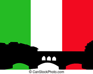 Ponte vechio bridge Florence against italian flag...