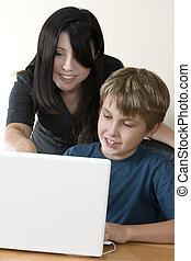 adulto, mulher, criança, computador