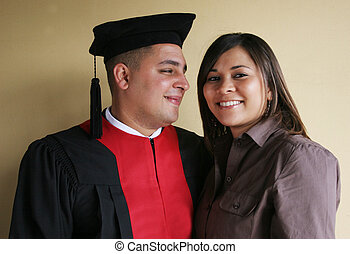 Happy and successful - University graduation celebrates his...