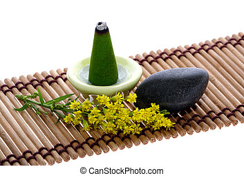 scent, pebble and flower on mat - scent joss stick, pebble...