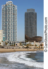 Port Olympic, Barcelona. - Tall Buildings of the Port...