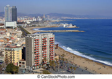 Port Olympic, Barcelona. - View of the seafront of the Port...