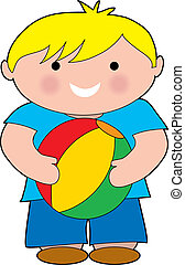 Boy with a Beach Bal