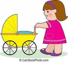 Little Girl with a Baby Carriage