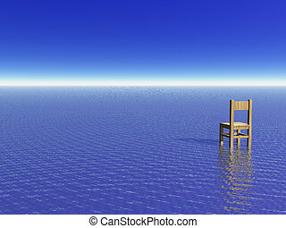 view - lonely chair at the ocean - 3d illustration