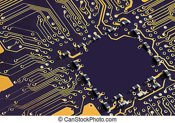 motherboard detail, colorized and detail reduced, chip...