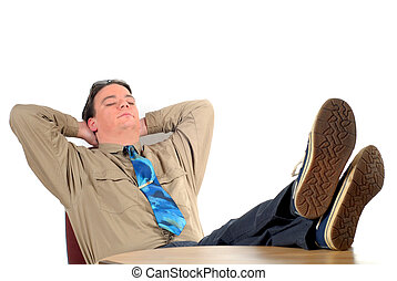 Young businessman taking a break - Workaholic, Young...
