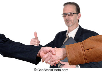 business deal, handshake - Handshake, business deal, happy...