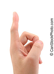 Index Finger pointing up with white background