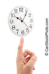 easy time management - hand propping up a clock, concept of...
