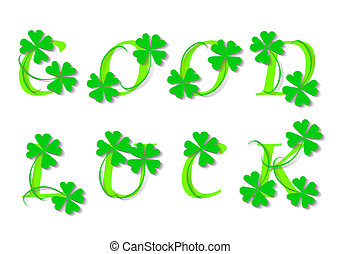 GOOD LUCK - Green four leaf clover, version with text,...