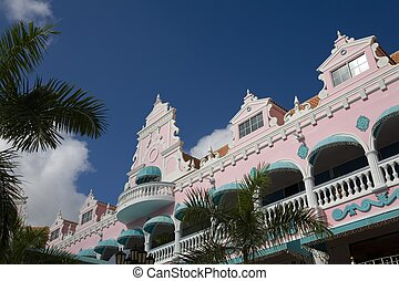 aruba - colorful houses in caribbean
