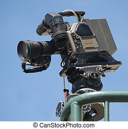 Television Camera - A television camera up on a balcony with...