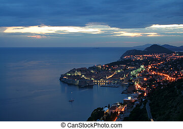 Dubrovnik in the evening - lights of Dubrovnik in the...