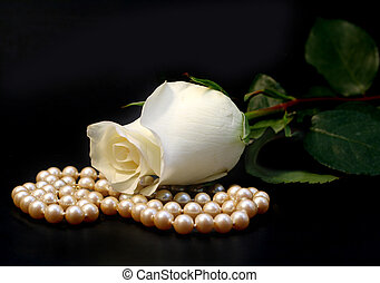 White Rose And Pearl - Beautiful white rose and strand of...