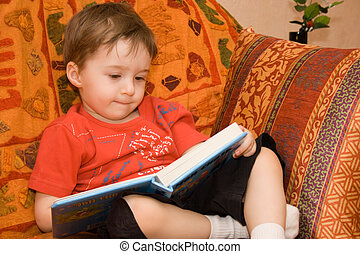 boy reads book - Little boy read book on the sofa