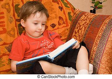 boy reads book - Little boy read book on the sofa