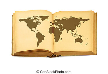 world map in open book