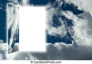 door to heaven on cloudy sky concept
