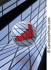 building - abstract sphere with graph with building in...
