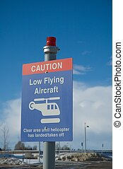 Aircraft warning sign for low-flying aircraft,helicopters.