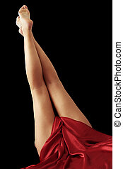Pretty Legs - Pretty legs with red silk and black background