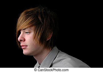 Profile of Teen - Teenager with shirt and tie over a black...