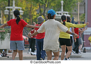 Aerobics Class - A group of people join in with a workout as...