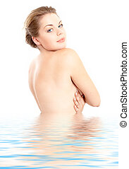 clean waters - image of lovely girl standing in water