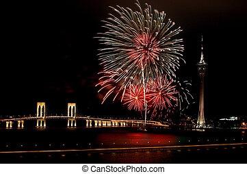 Celebration of New Year with fireworks - Celebration of New...