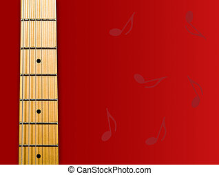guitar\\\'s neck over red background with notes - hi res...