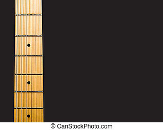 guitars neck over black background with notes - hi res 12,7...