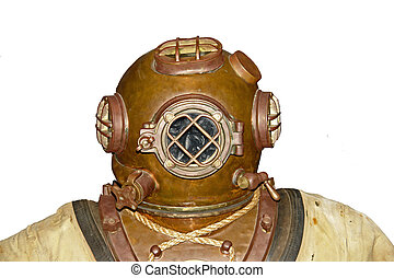 Vintage Diver Head - Old School Scuba Diver Head isolated...