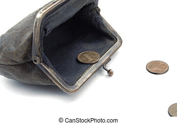 the last money - american coins runnig from old suede purse...