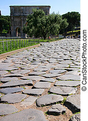 Ancient Roman Road - An ancient roman road, worn down to...