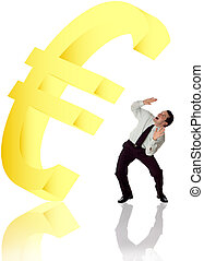 eur symbol falling on business men concept