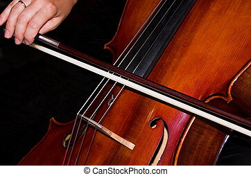 feminine hands playing cello - a cello being played by...