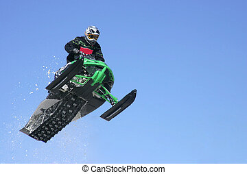 airborne snowmobiler - taken at kirkland lake snowcross