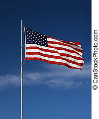 American Flag - Photo of an American flag blowing in the...