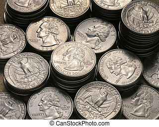 Stacks of Quarters heads and tails