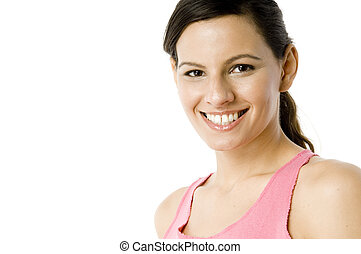 Woman In Pink - An attractive young woman in pink top on...