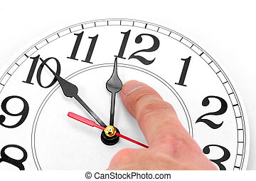 concept of time control - hand and clock with white...