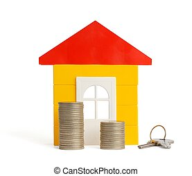 House and Keys - Isolated house, coins and keys