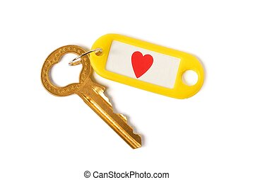 Key to Heart - Heart-shaped key on white background