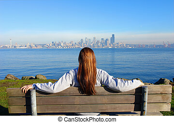 City View - Girl looking at the City of Seattle