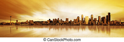 Seattle Panorama - Panoramic Image of the city of Seattle at...