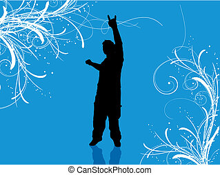 Rock on - Silhouette of a man on decorative background